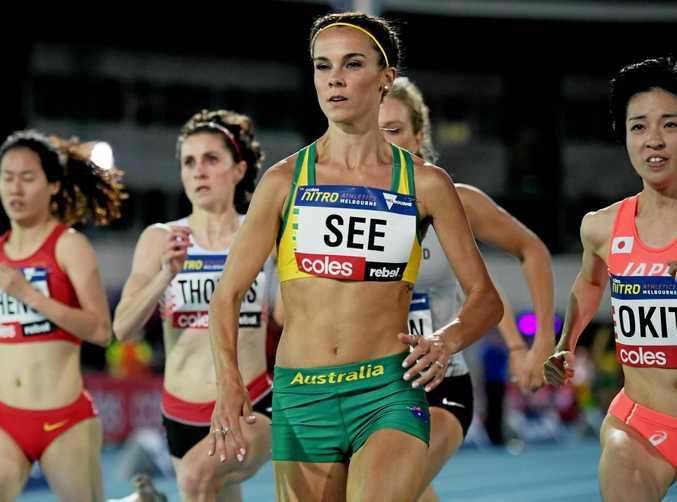 Australian athlete Heidi See in the women's one-mile run at the Nitro Athletics meet at Lakeside Stadium in Melbourne.
