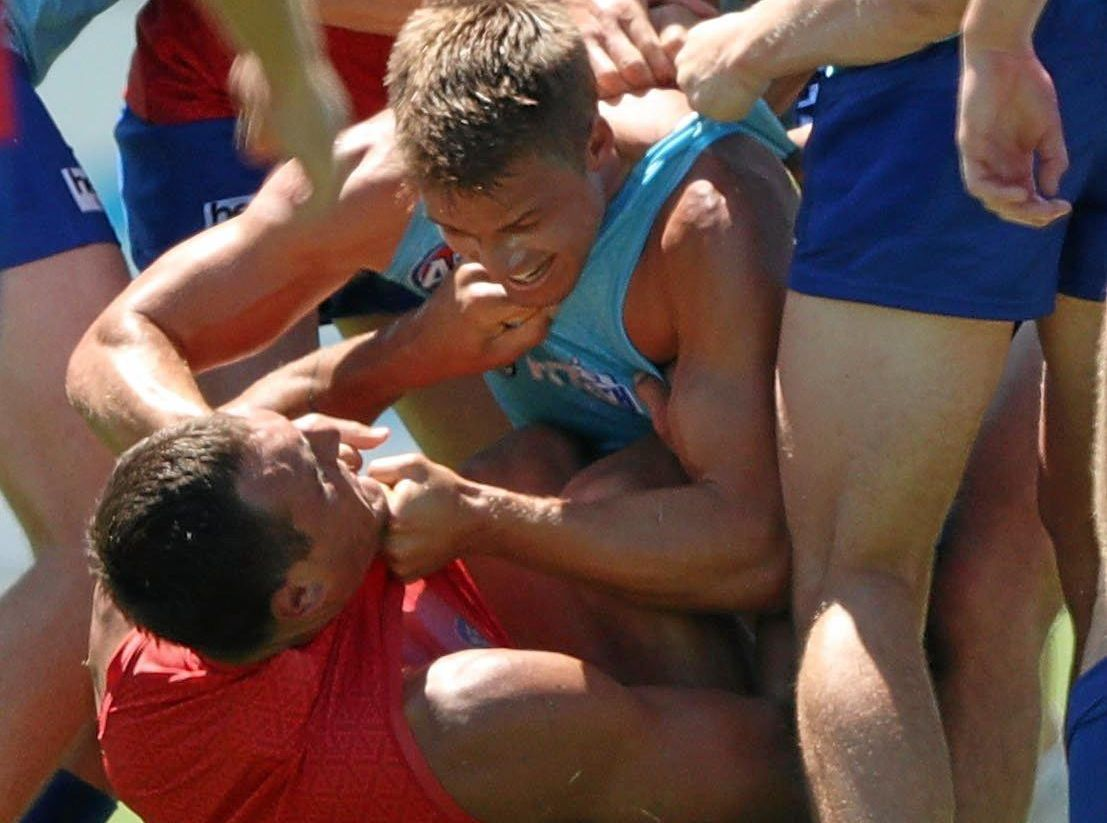 Braydon Preuss and Andrew Swallow wrestle during North Melbourne's intra-club match.