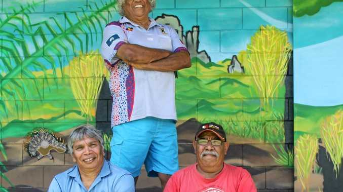 BATTLING ON: Northern United president Lester Moran,  back,  with new secretary Laurie Mercy and Wayne Caldwell, says the rugby league club is an essential part of the Lismore community.