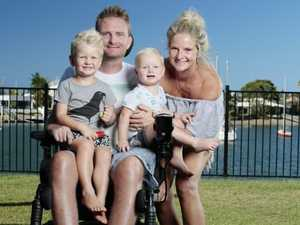 Surfing dad's new life as quadriplegic after beach injury