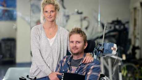 Rob Croll and wife Katie during his stint at Brisbane's Princess Alexandra Hospital.