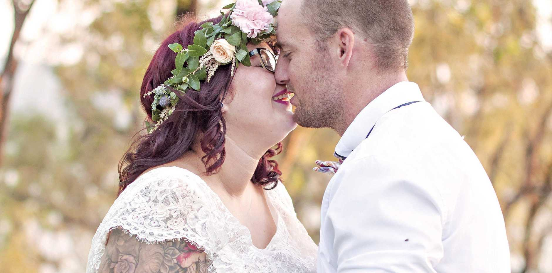 Tia and Jamie Cunninghame were married on January 14 2017 at their family's home in Benaraby, 24km south of Gladstone, central Queensland.