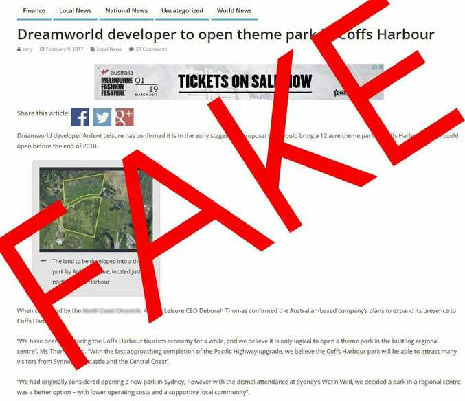 A screenshot of a fake news report about a new Coffs Harbour theme park.