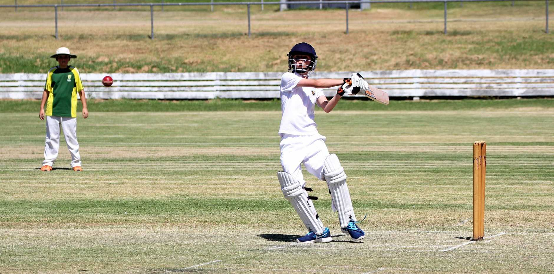 Lucas Wren takes a shot at Stanthorpe Junior Cricket on Saturday.