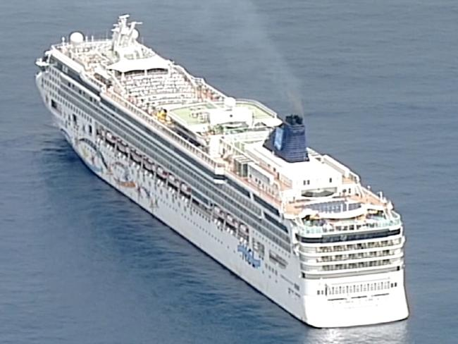 The Norwegian Star — which has a capacity of 2348 people — will be towed to Melbourne after it lost engine power at Cape Lintrap, near Wilsons Promontory, early this morning. Picture: Seven NewsSource:Supplied
