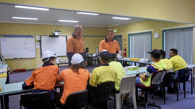 Students studying the Civil Construction course at the TAFE's Trenayr Campus.