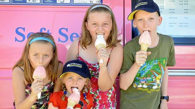 Makenzi Jensen, 9, Eboni Jensen, 5, Charli Jensen, 12, and Harry McErlean, 13, cooled off with ice cream.