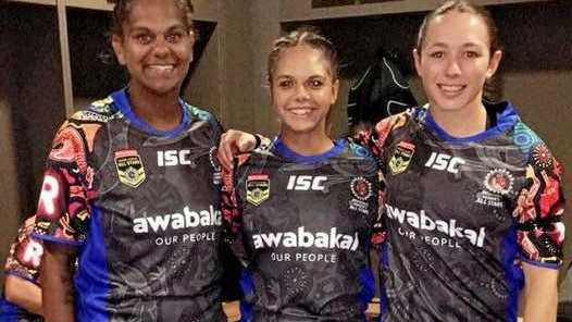 FILLIES ALL STARS: Western Mustangs Fillies players (from left) Samartha Leisha, Emily Young and Molly O'Connell in their Indigenous All Stars uniforms at Newcastle.