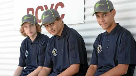Trevor Gurney ,Teariki Haro and Isaiah Jacobson at PROJECT BOOYAH a Queensland Police Service initiative. Photo Allan Reinikka / The Morning Bulletin