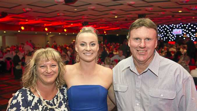 Rachael Curtis with parents Kellie and Paul Curtis at Sports Darling Downs awards night at Rumours International, Saturday, February 11, 2017.