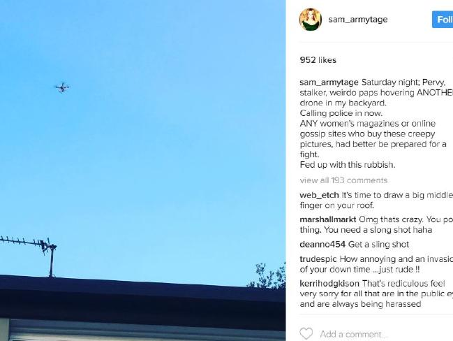 Sam posts a snap of the drone to her Insta.