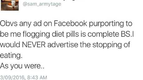 Sam had to get on social media to correct reports she was 'flogging diet pills'.