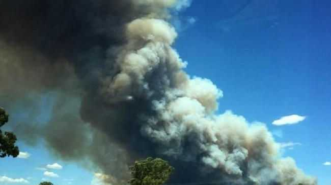 A fire rages at Leadvill, east of Dubbo, yesterday.