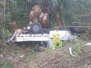 Ute careens 100m off Bruce Hwy in terrifying crash