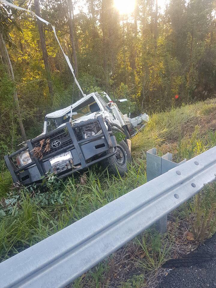 Two have escaped serious injury after their car rolled in a Brucy Hwy smash.