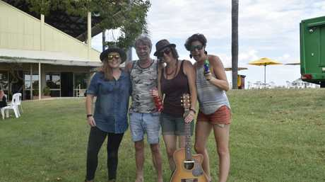 Musicans came dressed for the blistering conditions at Sunday's Blues Brews & Barbecues, from left: Guitarists Minnie Marks and Phil Emmanuel, Jules and Leesa Gentz from the Hussy Hicks.