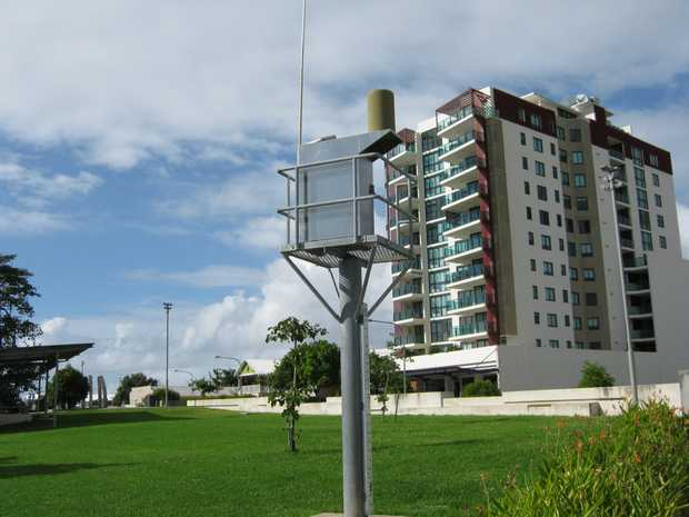 A rainfall and river height alert station in Mackay near the Forgan Bridge.