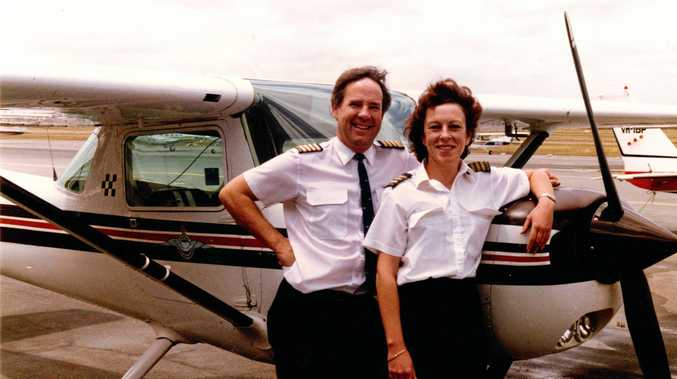 Mary Ernshaw (right) with the general manager of the Royal Aero Club of WA.