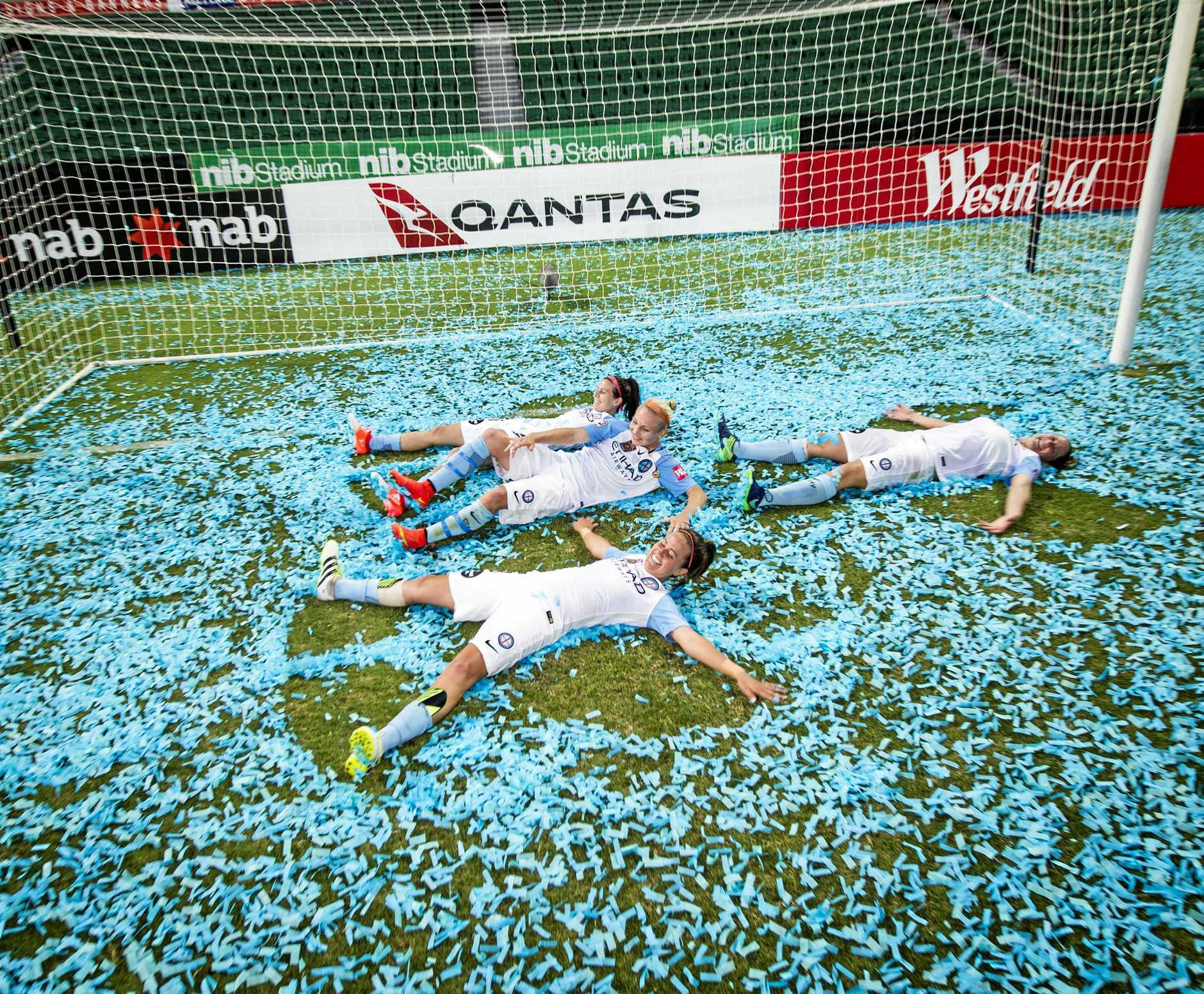 Melbourne City celebrate their win at nib Stadium in Perth