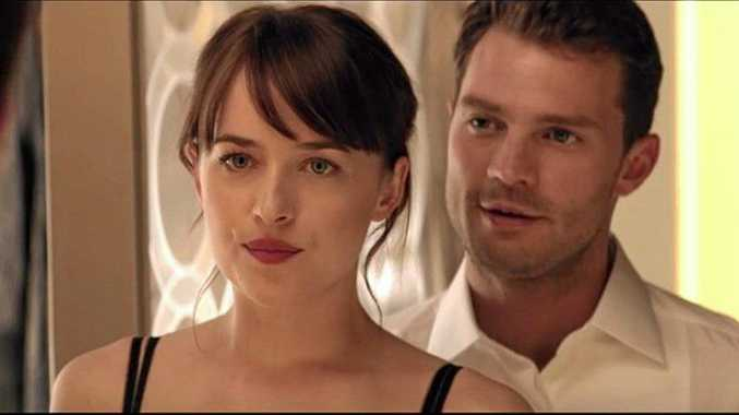 ON-SCREEN CHEMISTRY? Dakota Johnson and Jamie Dornan in a scene from Fifty Shades Darker.