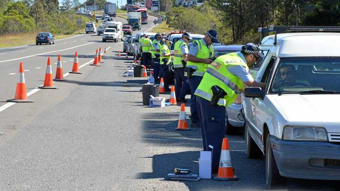 Police roadside blitz, licence, breath test, rego, drugs on the Bruce Hwy.
