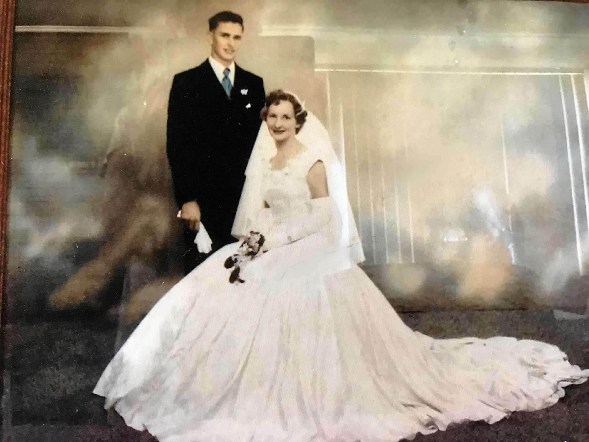 LOVE STORY: Colleen and Ken Anderson on their wedding day in 1957.