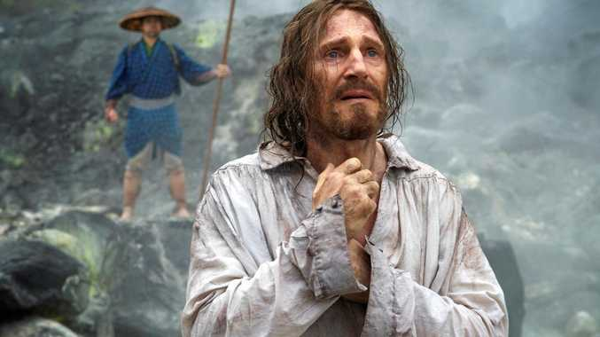 Liam Neeson in a scene from the brutal movie, Silence.