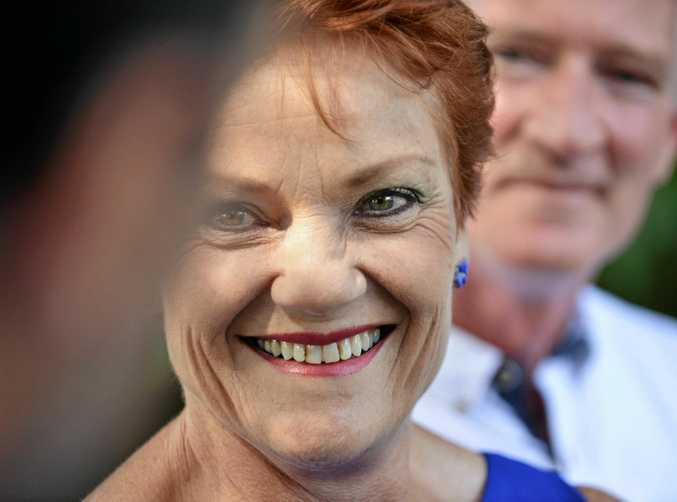 PAULINE Hanson and One Nation Party's new Queensland leader, Buderim MP and LNP defector Steve Dickson, pressing the flesh.