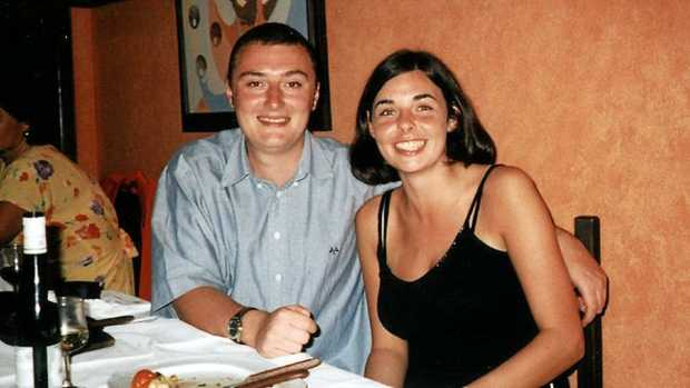 Joanne Lees, left, and her British boyfriend Peter Falconio are shown while travelling on the Stuart Highway, north of Alice Springs, Australia, before Falconio was killed in July 2001