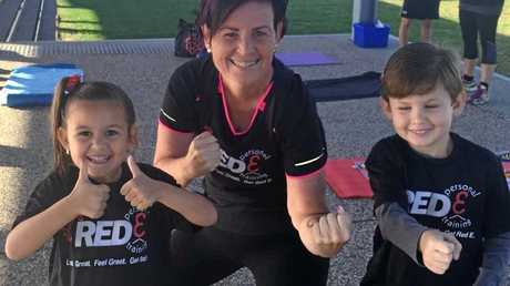 FIT MUM: Jaime O' Regan with her children after completing her first 5km run.