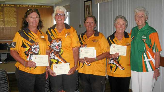 FAB FOURSOME: Winners of the Darling Downs Ladies Bowls Association Championship Fours were the South Toowoomba team of (from left) Marlene Hannant, Ros Byers, Debbie Petersen, Brenda Shea with DDLBA president Elsie Voll.