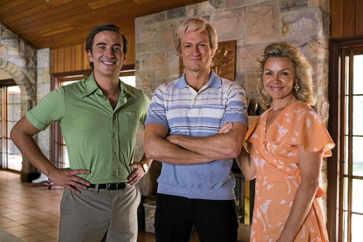 Ryan Corr, Josh Lawson and Justine Clarke in the Paul Hogan mini-series Hoges.