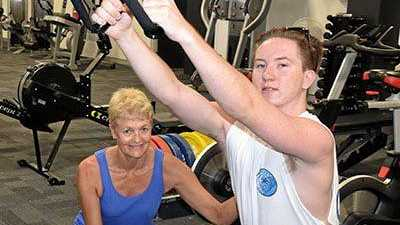 A Certificate III in Fitness has helped Rhys Carter plan his own knee-injury recovery program. He's now enrolled in a Certificate IV in Fitness with teacher Linda Nugent.