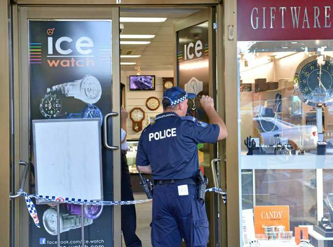 Police investigate the March 2015 robbery of Nambour Jewellers.