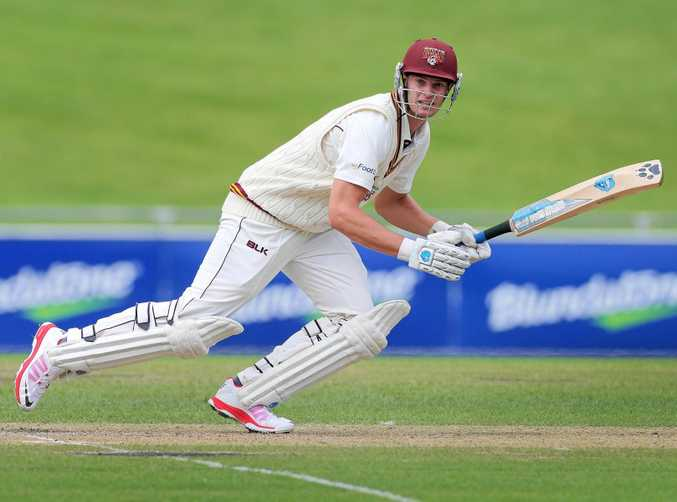 AT THE CREASE: Mark Steketee bats for Queensland.