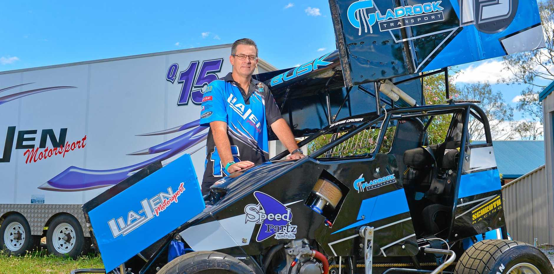 Gladstones Jason Busk had a thrill at the 12-Hour Bathurst Enduro but he will switch to the speedway car at this weekend's QLD Lightning Sprints in Brisbane.