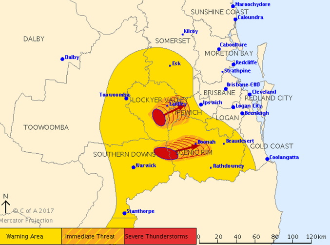Two severe storms are presently moving east towards Ipswich and Beaudesert. Source: BOM