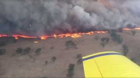 The view from the RFS plane of the Sir Ivan Fire, in the NSW Central West, which breached containment lines.