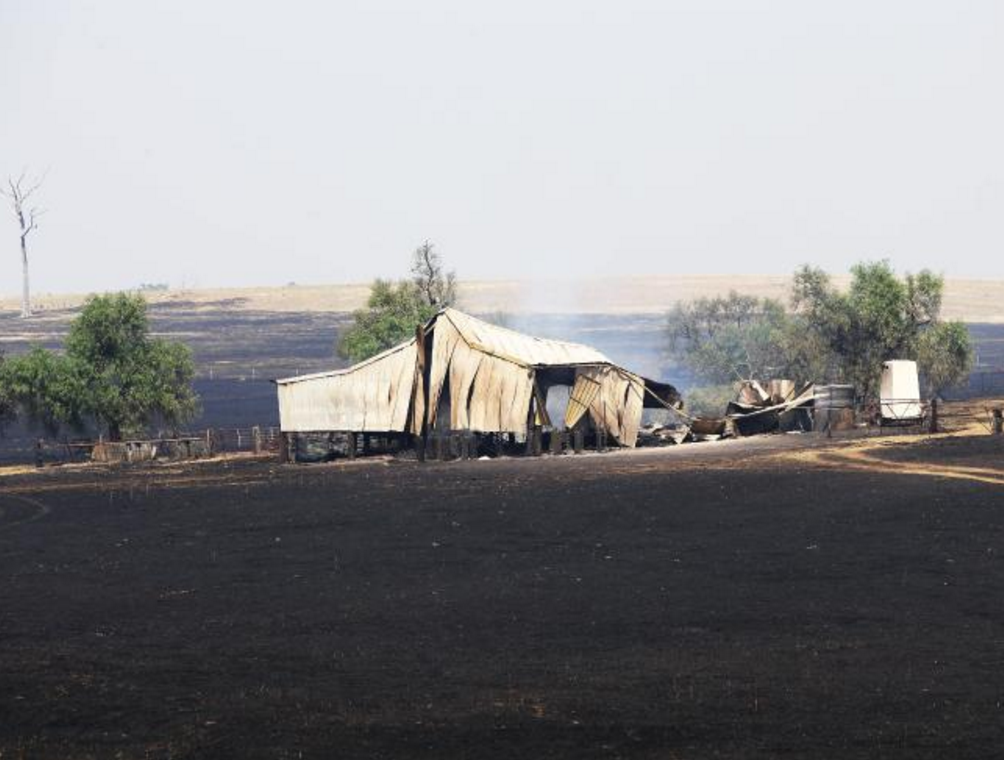 All that remains of a farm shed east of Dunedoo. Picture: Peter Lorimer.
