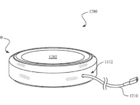 This patent appears to show a wireless charging plate, which will charge the phone up when it's placed on top.Source:Supplied
