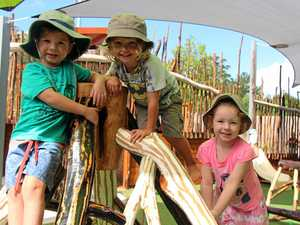CLIMBING MONKEYS: Billy Cross, Tao Burr and Angelique Passmans love the new eco-playscape.