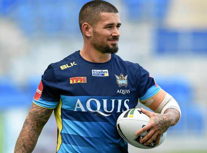 Nathan Peats during a Gold Coast Titans training session.