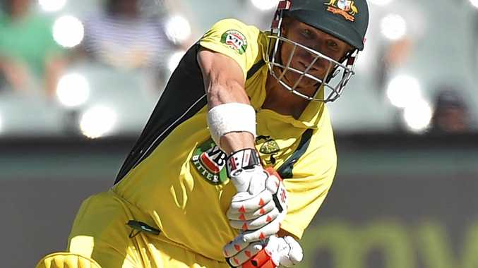 David Warner of Australia plays a shot during the fifth one-day international against Pakistan at the Adelaide Oval.