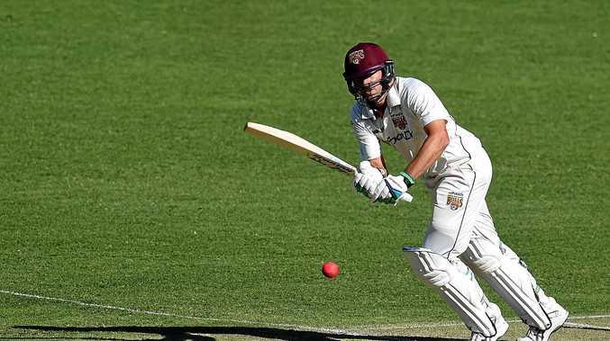 Queensland batsman Joe Burns plays a shot.