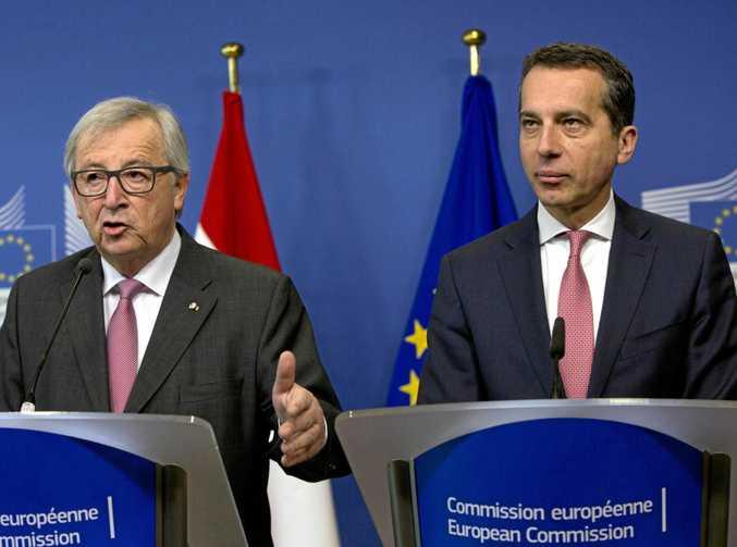 European Commission President Jean-Claude Juncker, left, and Austrian Chancellor Christian Kern.