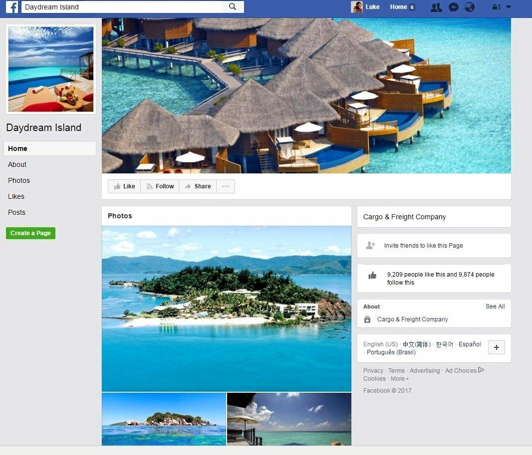This 'Daydream Island' Facebook page is fake and running a scam competition, an official Daydream Island spokesman confirmed.