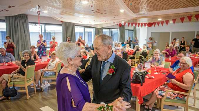 WALTZ: Elaine and Laurie Stephenson have their first dance after they renewed their vows at a Valentines Day ceremony at Whiddon Aged Care Home Grafton.