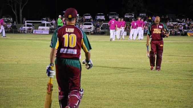 Stuart Law takes over from Andrew Symonds during the 2015 Big Melon Bash.