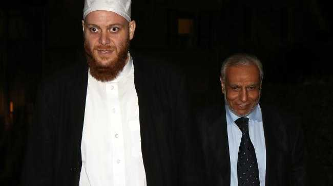 Sheik Shady Alsuleiman (left) and Grand Mufti Dr Ibrahim Abu Mohamed leave Kirribilli House after a dinner hosted by Malcolm Turnbull.