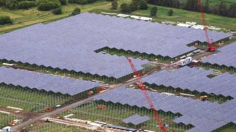 The Sunshine Coast Solar Farm under construction at Yandina.